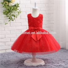 Robe de couleur rouge pour enfants Pageant Robes pour petites filles Pageant Robes Flower Girl Puffy Dress