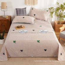New Product Bedsheet Cheap Price Soft Comfortable Sandy Brown Plaid Full Bedding Set