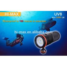 Tauchen Taschenlampe laufen in 8PCS CR123A oder 4pcs 18650 Li-Ionen-Akku 5000lm Tauchen Fotografie Licht