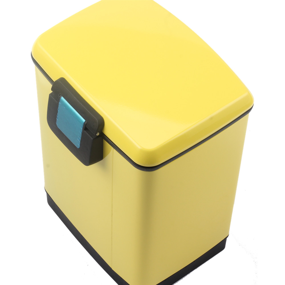 Yellow Outside Stainless Steel Pedal Bin