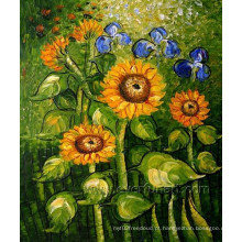 Home Decoração Wall Art Canvas Sunflower Oil Painting (FL1-109)
