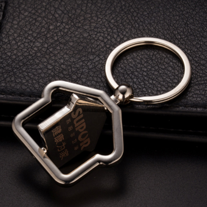 Sales Center Gift Metal House Shape Rotatable Keychain