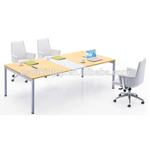 Meeting table design for office MDF + Melamine finishing with peach wood + warm white upholstery (JO-4050)
