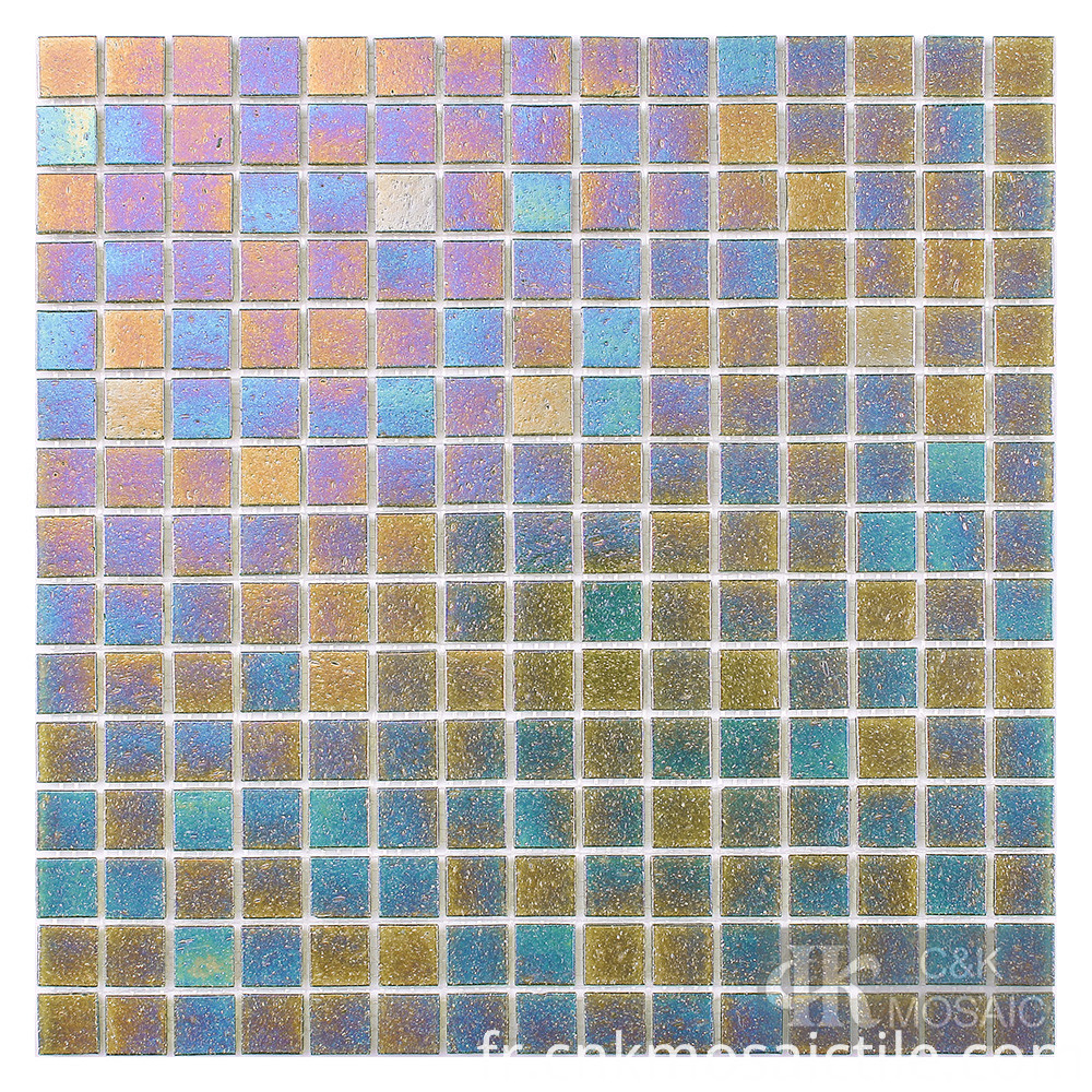 Iridescent green Glass Mosaic Tiles