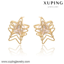 92588-Xuping Fashion Modern Nobby Overlapping Star Earrings For Wholesale