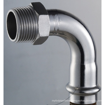 Dn65*2-1/2, Od63.5mm SUS304 GB 90 Angle Male Elbow (Adapter)