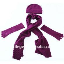 fashion beautiful plain wool hats,scarves & gloves sets