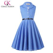 Grace Karin Flower Girl Dresses Summer Children Kids Girls Retro Vintage Sleeveless Lapel Collar Polka Dots Dress CL009000-4