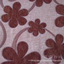 O fio 100% de poliéster do teste padrão de flor do jacquard tingiu a tela do Chenille