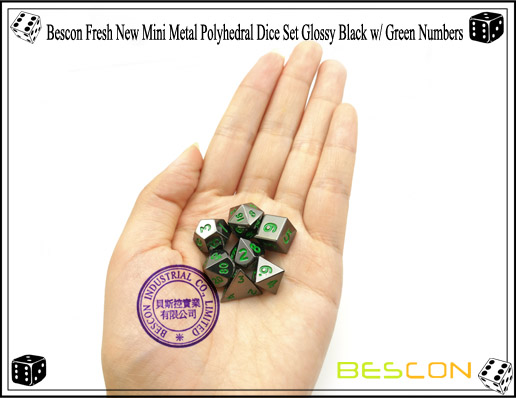 Bescon Fresh New Mini Metal Polyhedral Dice Set Glossy Black with Green Numbers-7