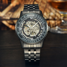 odm bands winner skeleton mechanical movement watch