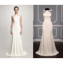 Flowy Satin and Lace Wedding Dress