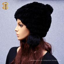 Frauen Wolle Real Rex Winter CC Beanie Knit Kaninchen Pelz Hut