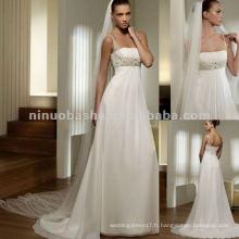 NY-1544 bretelles en mousseline de soie robe de mariée en corsage en perles