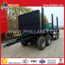 Four Axle Full Flatbed Side Posts Trailer with Turntable Drawbar
