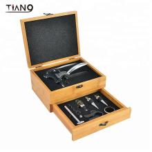 Luxury Rabbit Wine Opener Wine Gift Set Drawer Bamboo Box with Factory Direct Supply