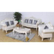 Sofá de couro com moldura de madeira para sofá e mesa lateral (D987A)