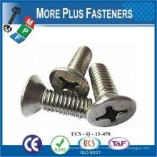 Fabriqué en Taiwan Machine Screw ISO 7046 Philips Flat Head Acier inoxydable corsé et acier au carbone Zingué