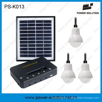 Panel solar 4W calificado 3PCS 1W SMD Bombillas LED Kit solar Iluminación del hogar con carga del teléfono (PS-K013)