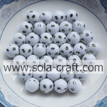 Fashion Style Small Size Acrylic Disco Dot Beads White Color 5MM