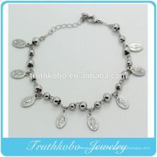 TKB-B0078 Bracelet de perles de chapelet en argent avec perles de 4mm et pendentif en métal catholique