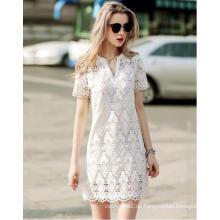 Sommer Geometrische Muster Spitze V-Ausschnitt Damen Kleid