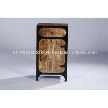 Industrial Vintage 1 cajón 1 puerta de madera de noche de madera