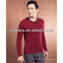 young man's cashmere knitting V neck sweater