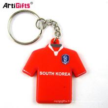 En gros personnalisé 3d souple en caoutchouc pvc mini t-shirt qr code tissu porte-clés