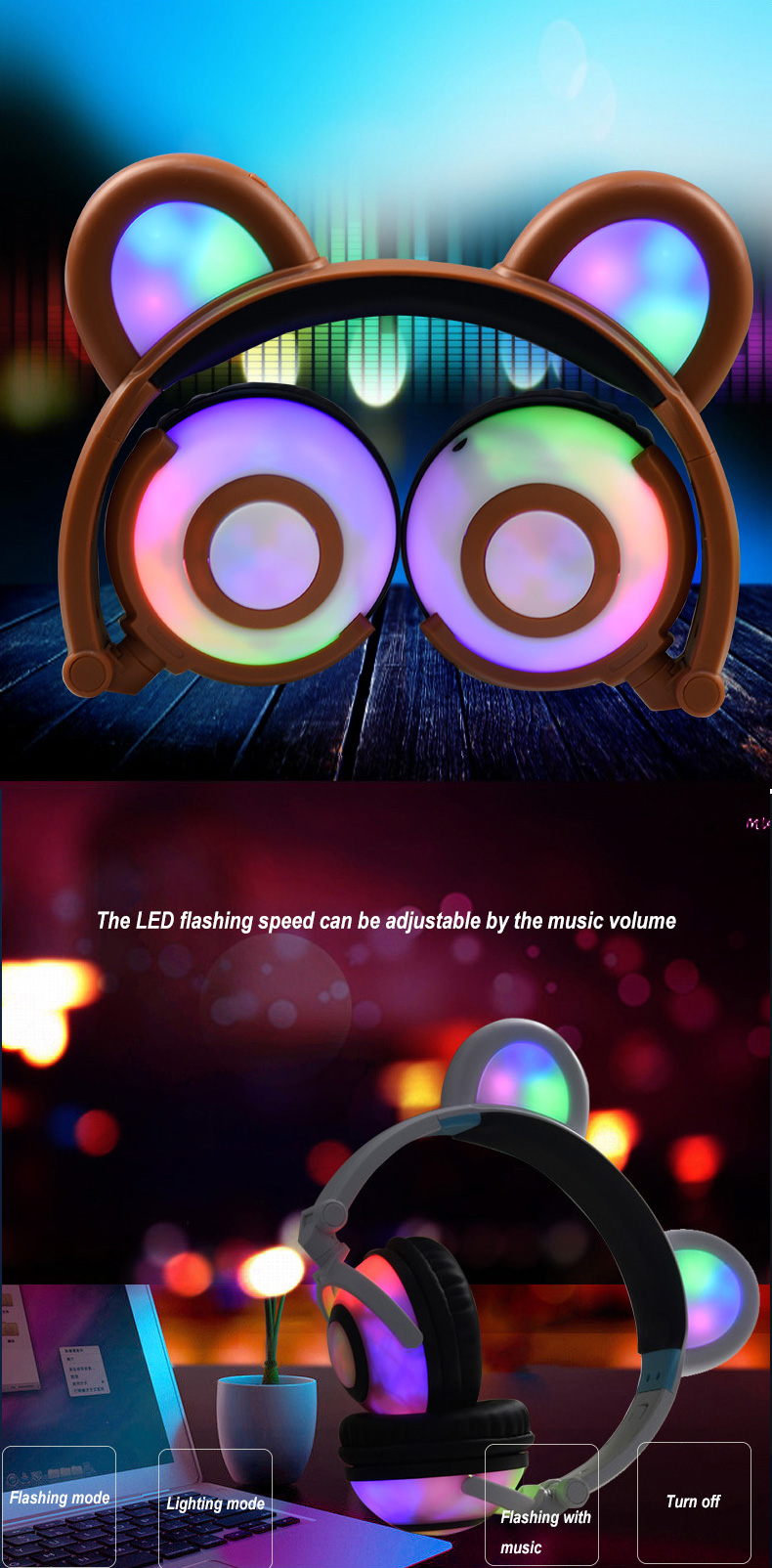 led flashing headphones