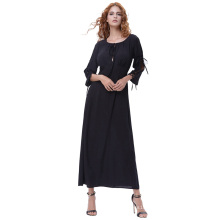 Kate Kasin Women's 3/4 Sleeve Crew Neck Cutout Front Cotton Black Maxi Long Dress KK000640-1