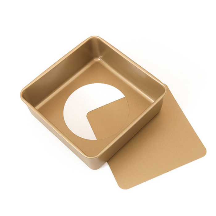 8.5'Carton Steel Deep Square Cake Pan Wth Removable Bottom-Gold (7)