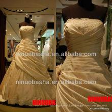 Q-6266 Rüsche-Organza-Hochzeits-Kleid-Spitze Appliques Heißer Verkauf Brautkleid 2012