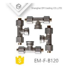 EM-F-B120 Nickel plated AL-PEX-AL brass pipe tee