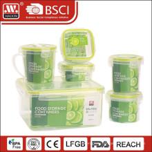 7PCS контейнер хранения пластиковая еда набор с четырьмя сторона замка