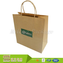 Cheap Grocery Shopping Take Away Customized Kraft Brown Paper Bags With Logo Design Print