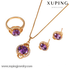 61333-Xuping Bling Anniversary Gold Plated Earring Pendant Jewelry Set