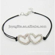 Black wire diamante double heart alloy woven bracelet