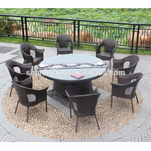 new design PE rattan woven 7pcs round table and chair garden outdoor chair