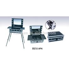 caixa de maquiagem profissional de alumínio com fabricante de luzes e pernas