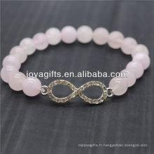 Vente en gros Diamante 8 Shape With 8MM Semi-precious Straight Stretch Bracelet