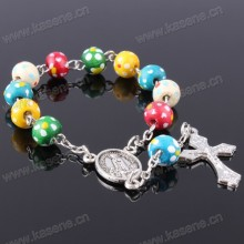Holy Multicoloured Plum Blossom 8mm Wooden Beads Rosary Bracelet with Crucifix