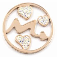 Мода Розовое золото Стрелка & Сердцевая монета Пластина 33/35 / 38mm Медальоны