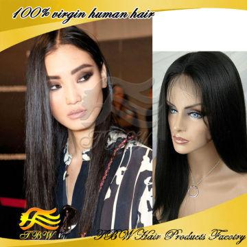 En gros chinois vierge cheveux humains dentelle perruques avant lumière yaki perruque droite