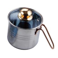 Stainless steel milk pan with metal handle