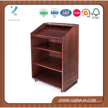 Customized Wooden Lectern for Floor with Shelves and 2 Wheels