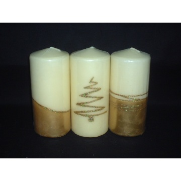 Layered Unscented Metallic Finish Pillar Candle