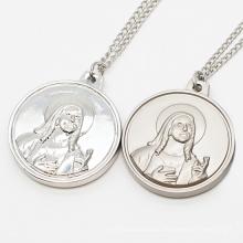 Silver Medallion Stainless Steel Alloy Religious Virgin Mary Saint Joseph Medal