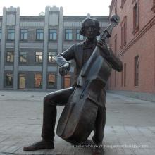 Escultura de bronze moderna do jogador do violoncelo BS114A