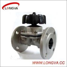 Válvula de diafragma de brida manual de acero inoxidable sanitaria